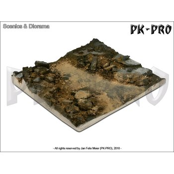 Scenics-Diorama-Bases-14x14cm-Rubble-Street-Section