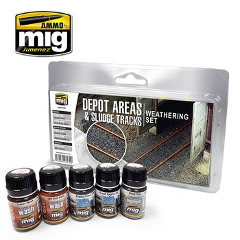 A.MIG-7470-Depot Areas - Sludge Tracks Weathering Set-(5x35mL)