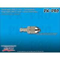 H&S-plug in nipple nd 2.7mm,, with screw socket for hose...